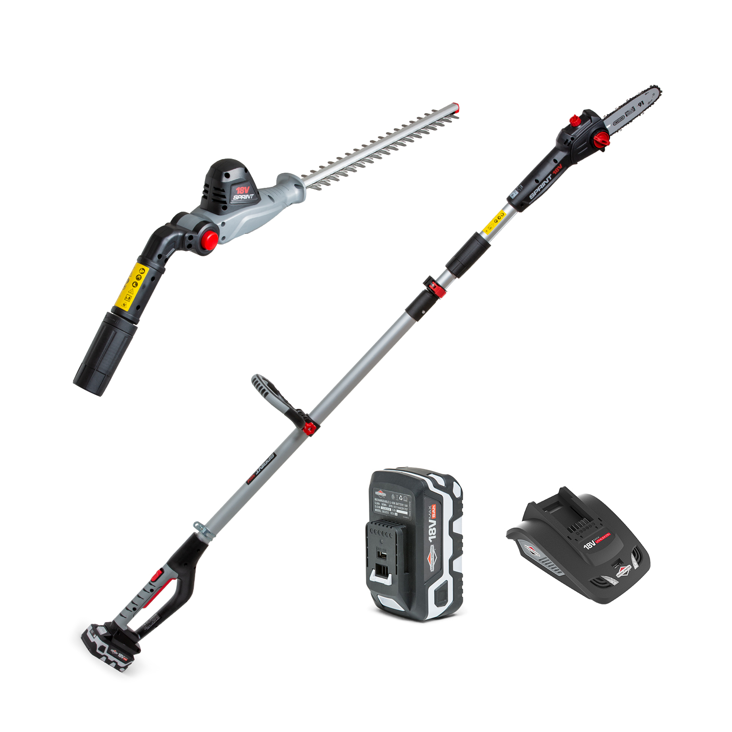 18V LiIon Cordless Pole Saw  Hedge Trimmer 2in1 Kit